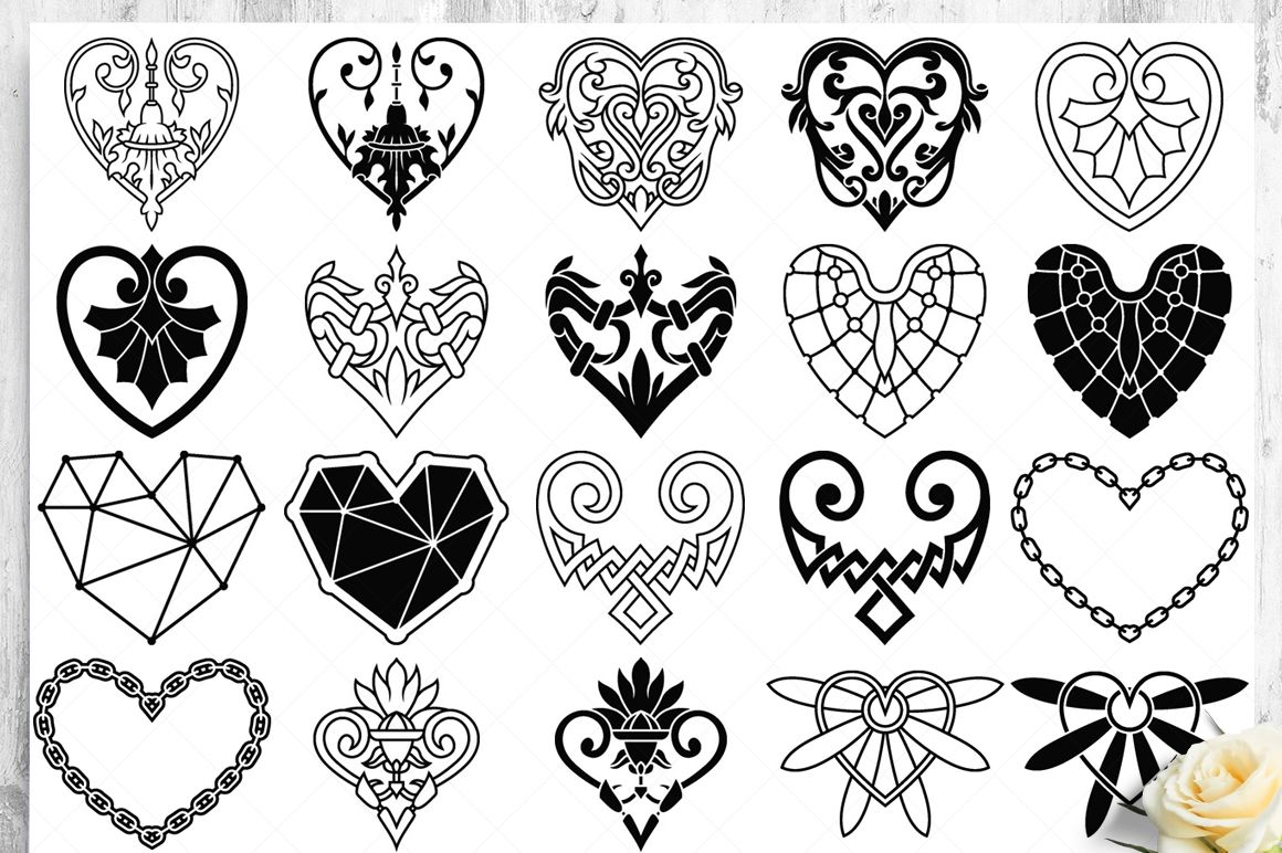 100 Heart Vector Ornaments and Seamless Patterns example image 16