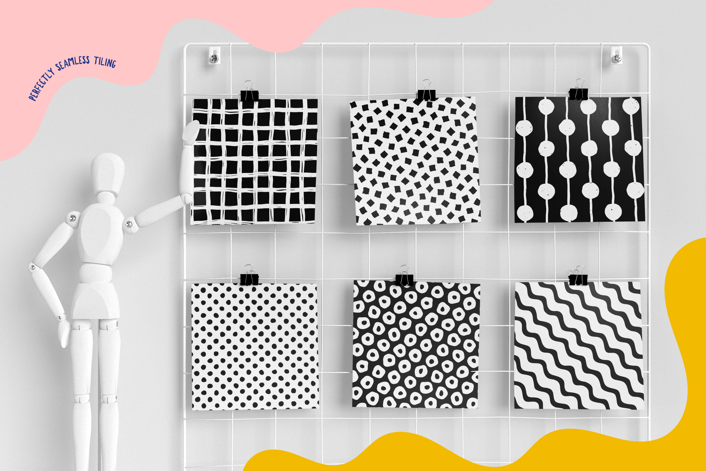 100 Hand-drawn seamless patterns collection example image 4
