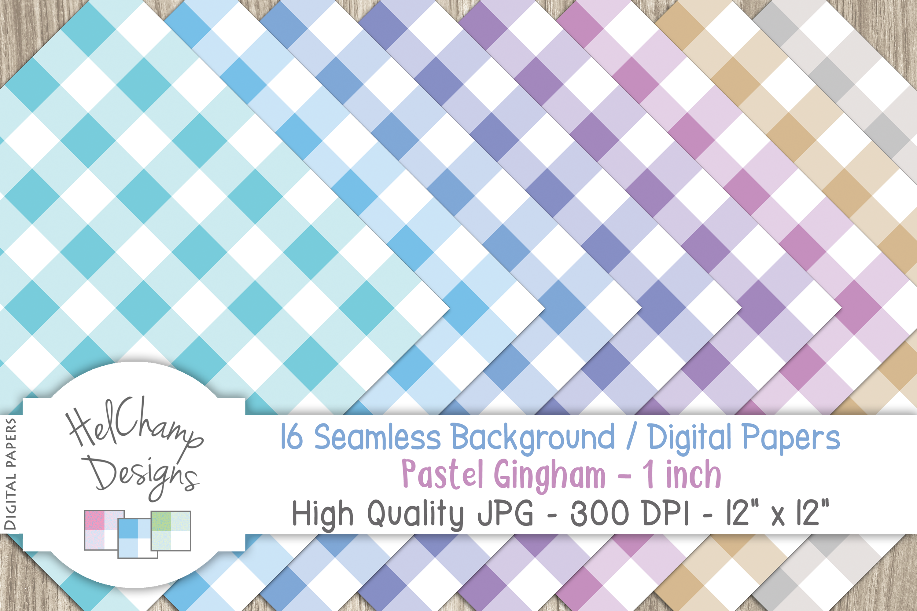 48 seamless Digital Papers - Pastel Gingham serie - DB001 example image 8