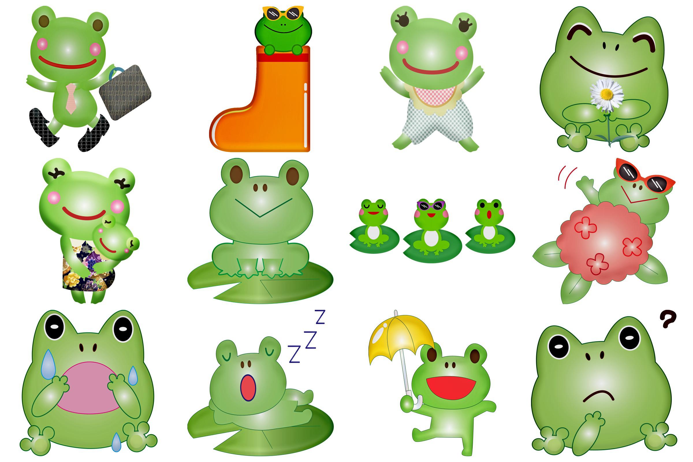 Kawaii Frogs & Friends Cute Clip Art example image 2