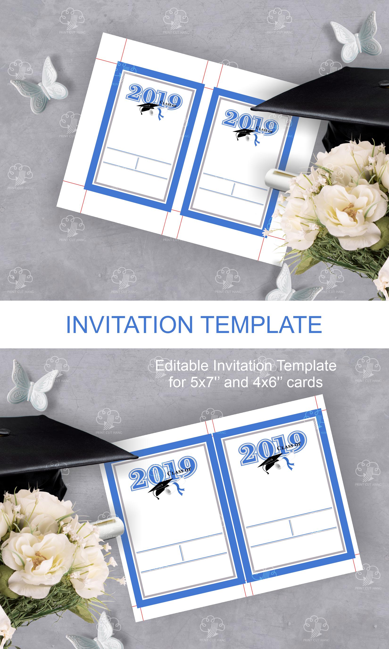 Invitation Template editable text - BLUE - Graduation 2019 example image 5