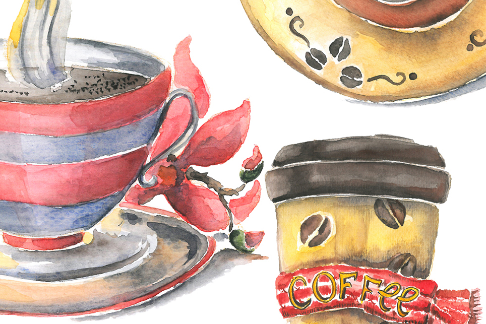 Cup clipart, cofee cup, watercolor cup, cup of tea example image 4