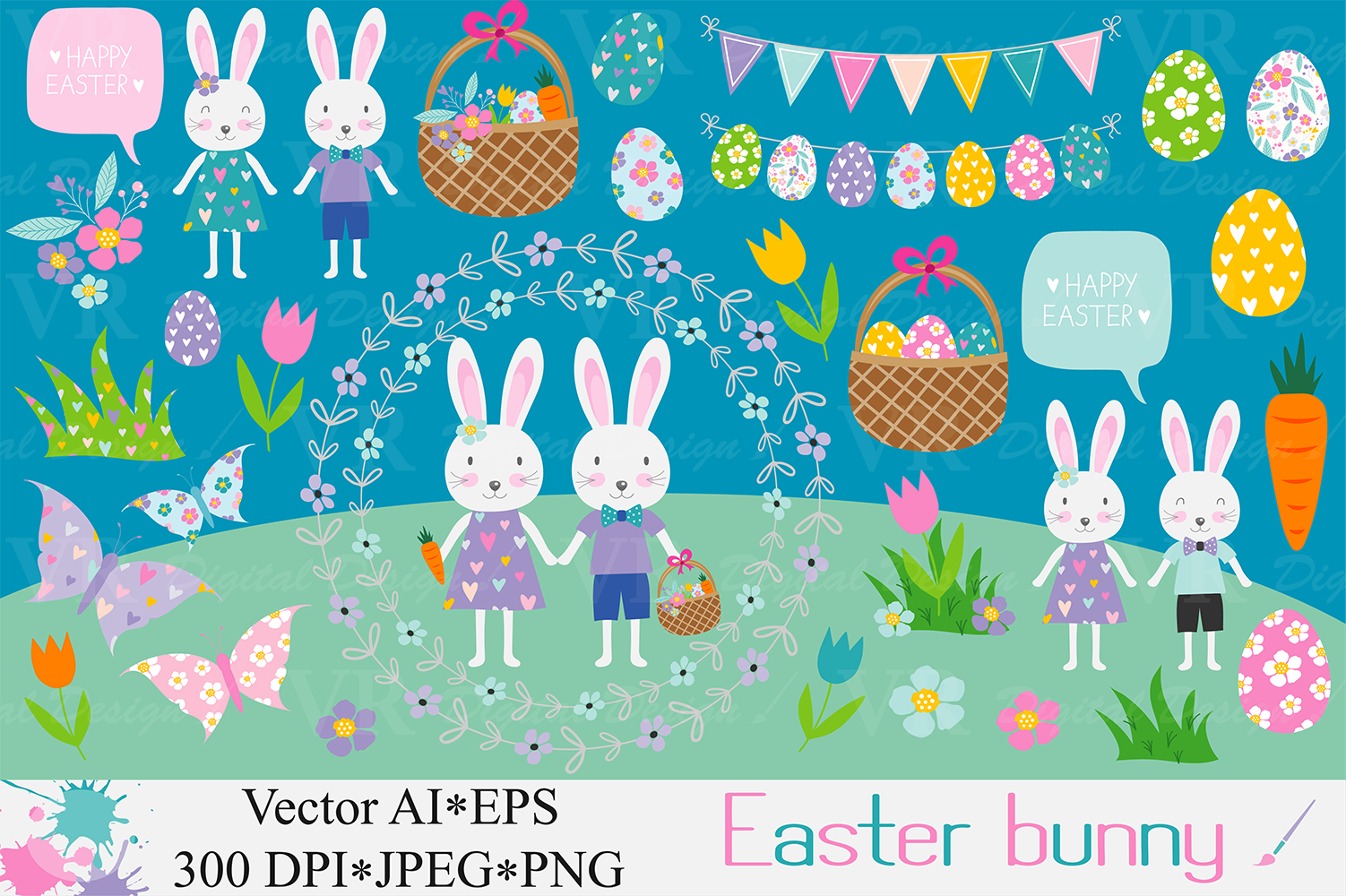 Easter bunny clipart / Easter rabbit, eggs vector graphics ...