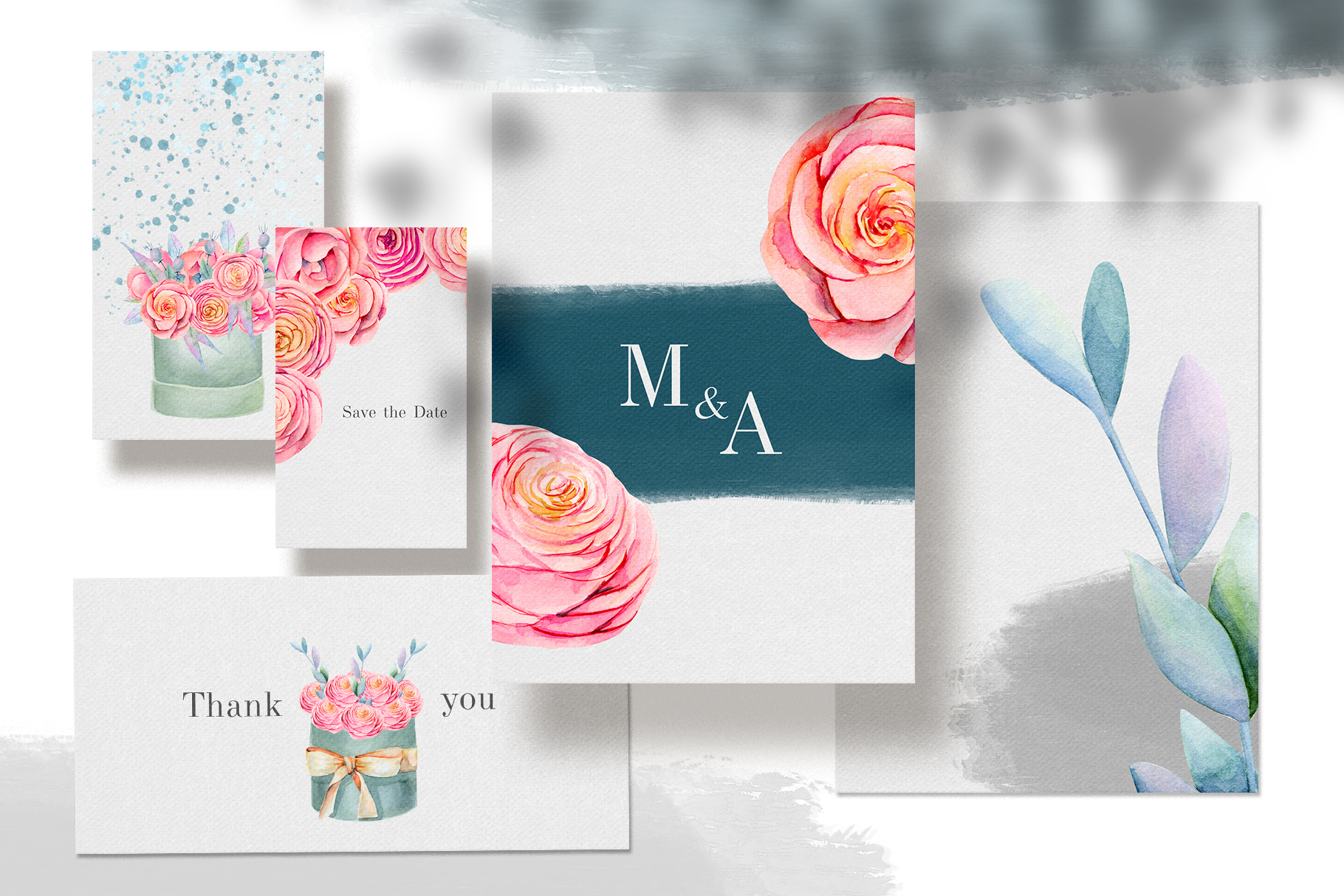 Floral boxes. Watercolor clipart. example image 5