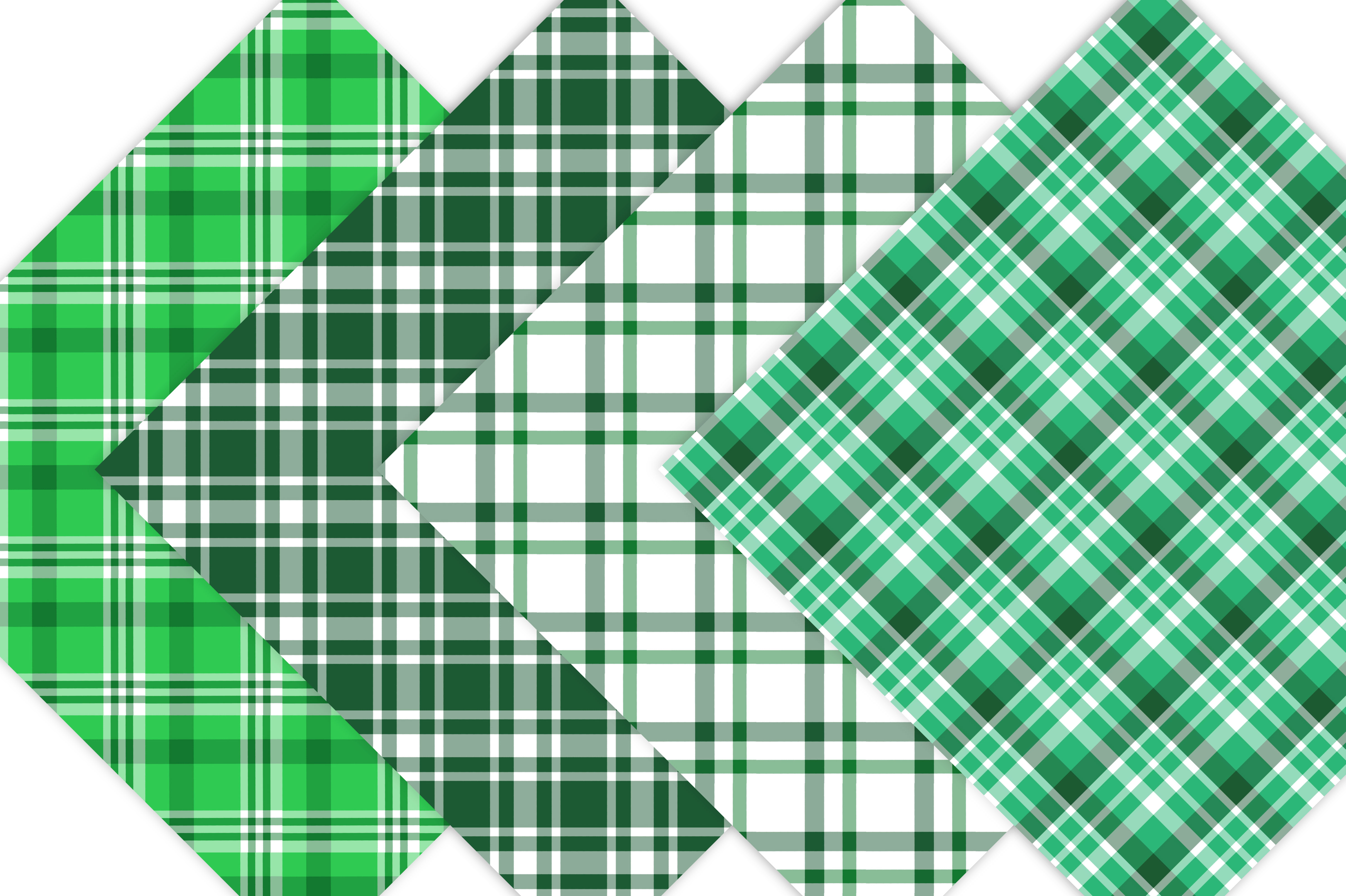 Green Plaid Digital Papers example image 5