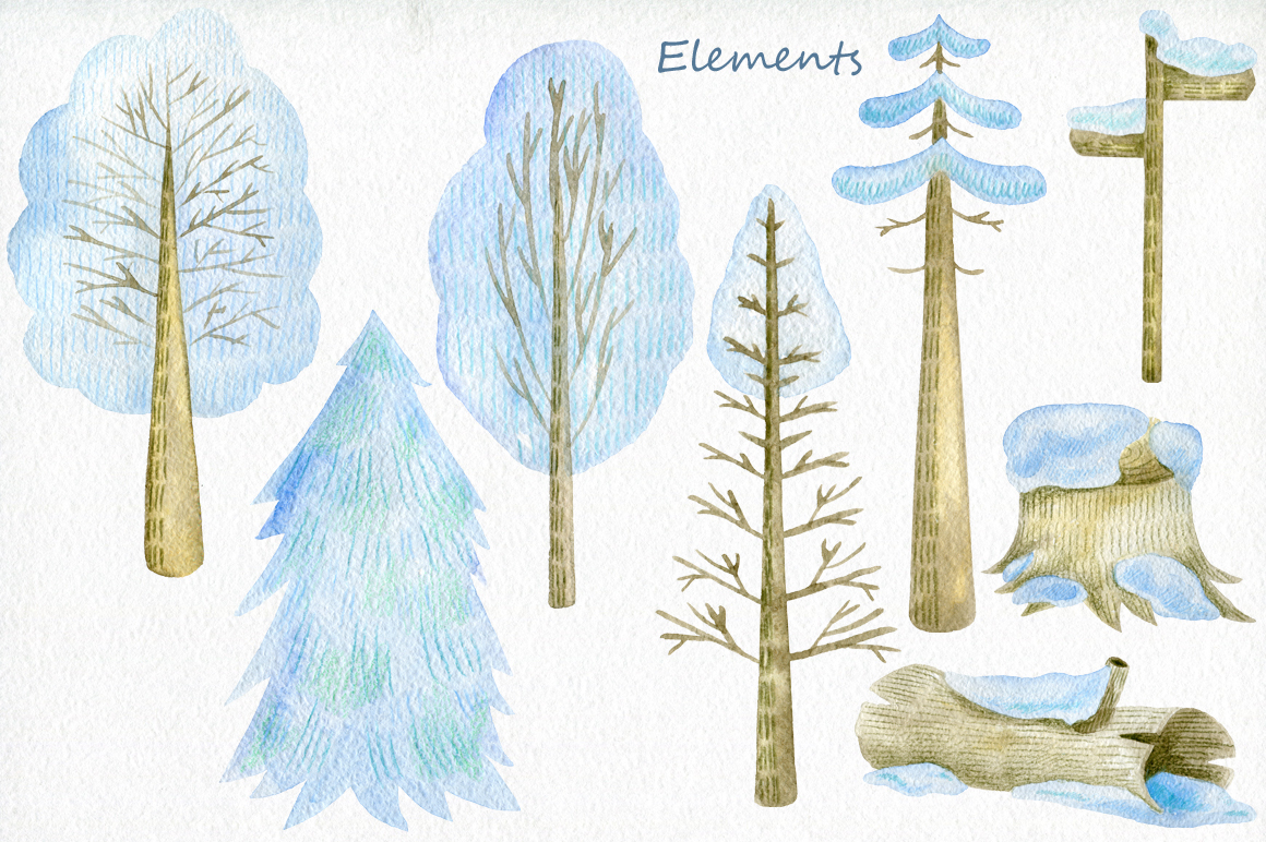 Winter Woodland. Watercolor set. example image 4