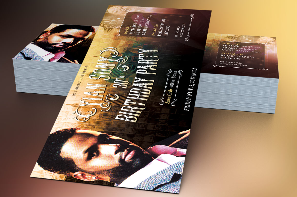 Hipster Birthday Party Flyer Template example image 4