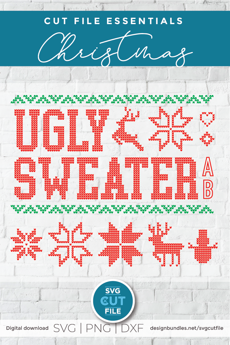 Ugly Christmas Sweater font, Tacky Christmas Jumper font OTF example image 2