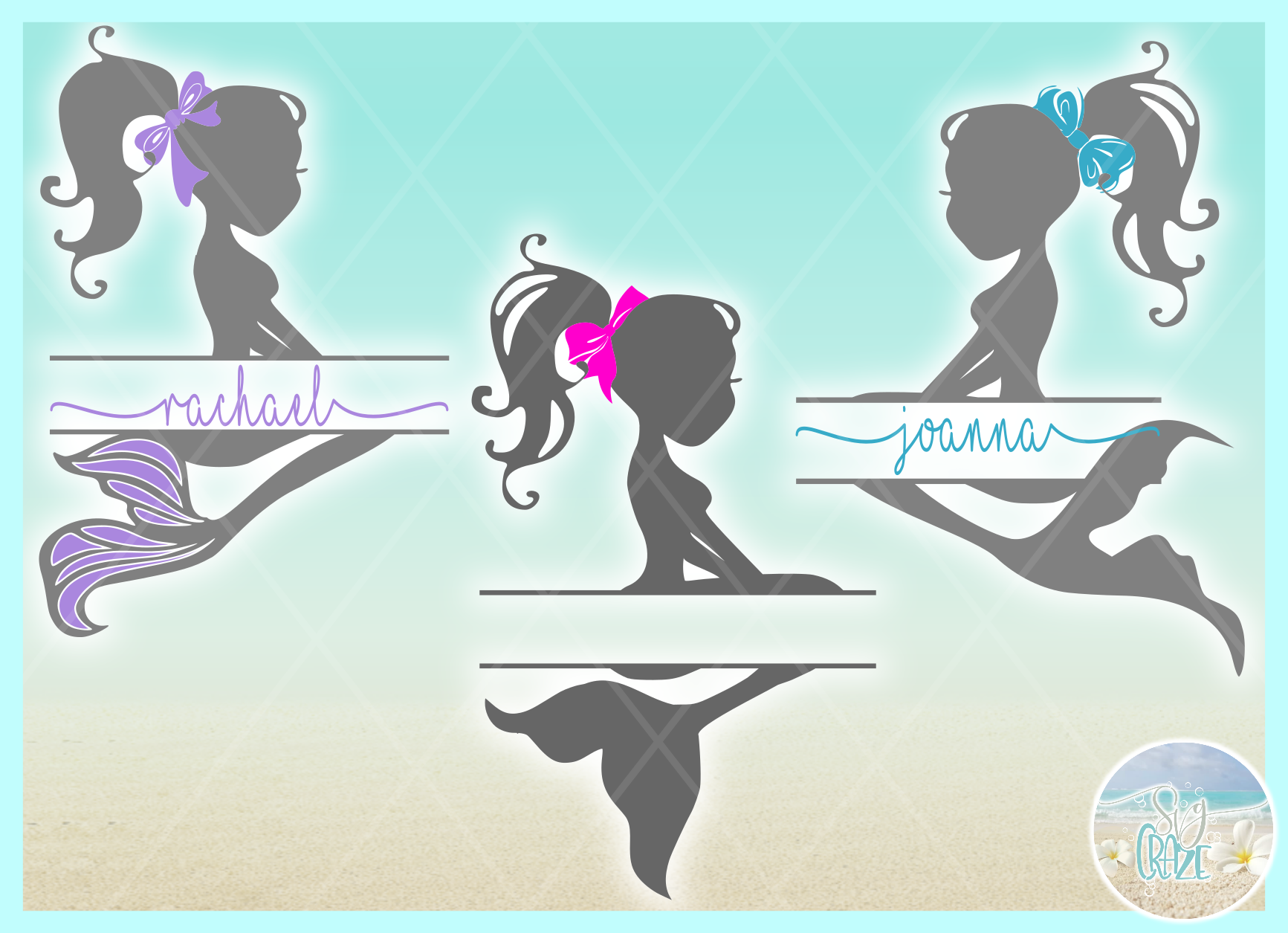Mermaid Silhouette Split Frame Name Monogram SVG example image 2