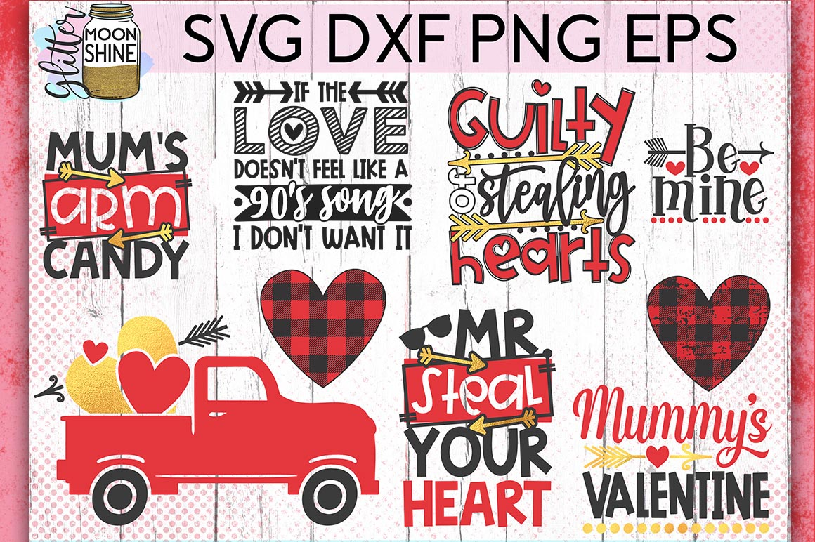 Valentine's Day Bundle Of 60 SVG DXF PNG EPS Cutting Files example image 3
