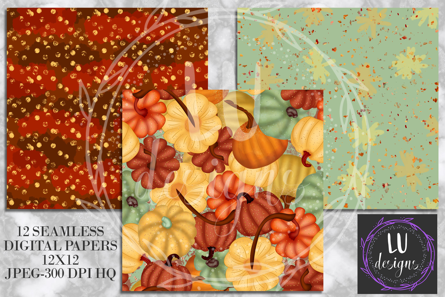 Fall Digital Papers, Autumn Backgrounds, Fall Patterns example image 3