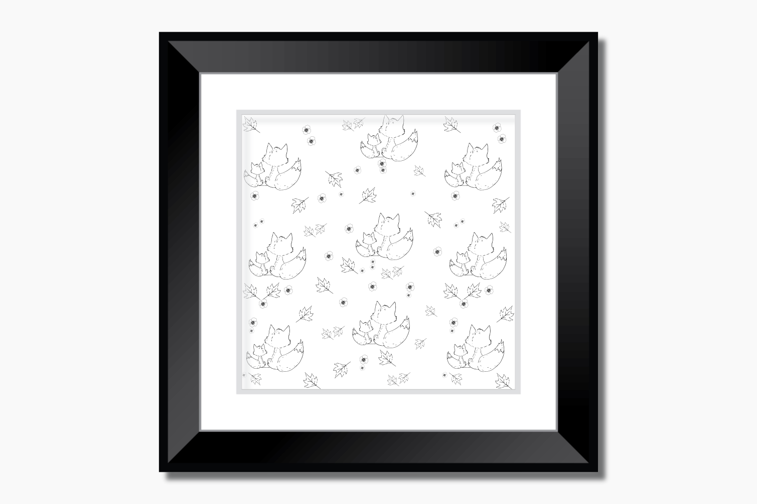 Fox and Flowers Doodle Pattern, A1, SVG example image 9