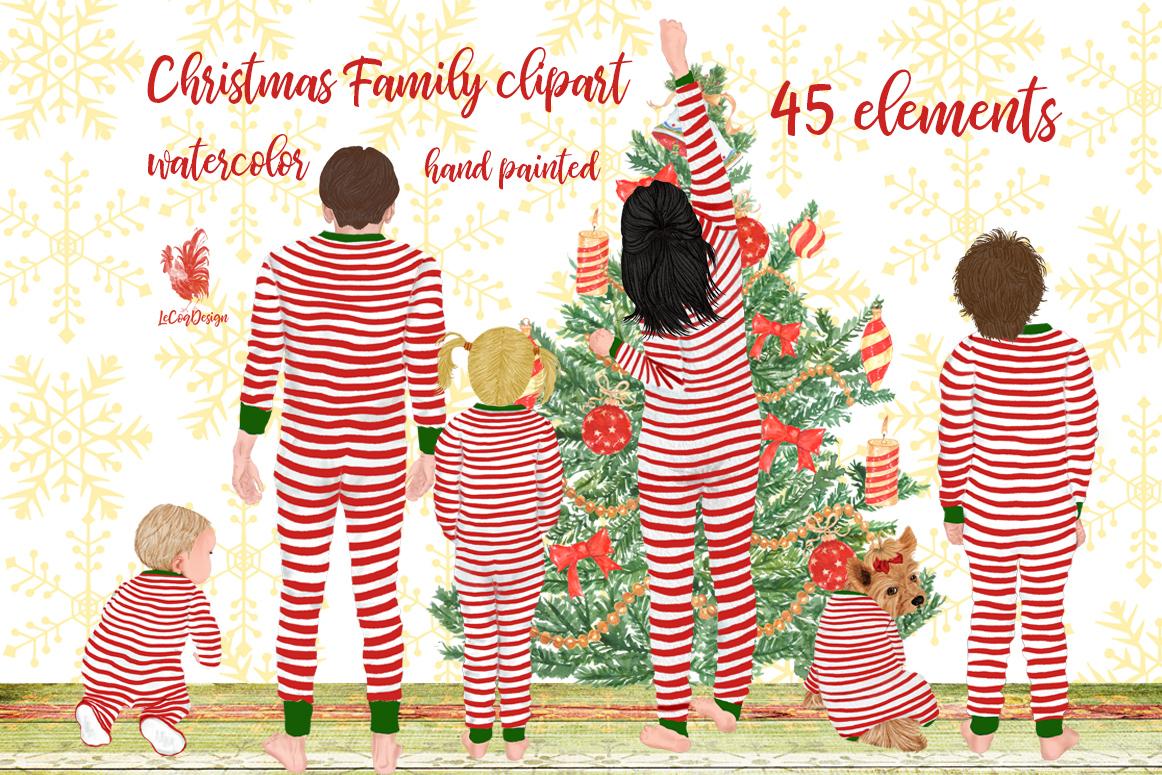 Christmas family clipart, Matching pajamas, Christmas Tree example image 1