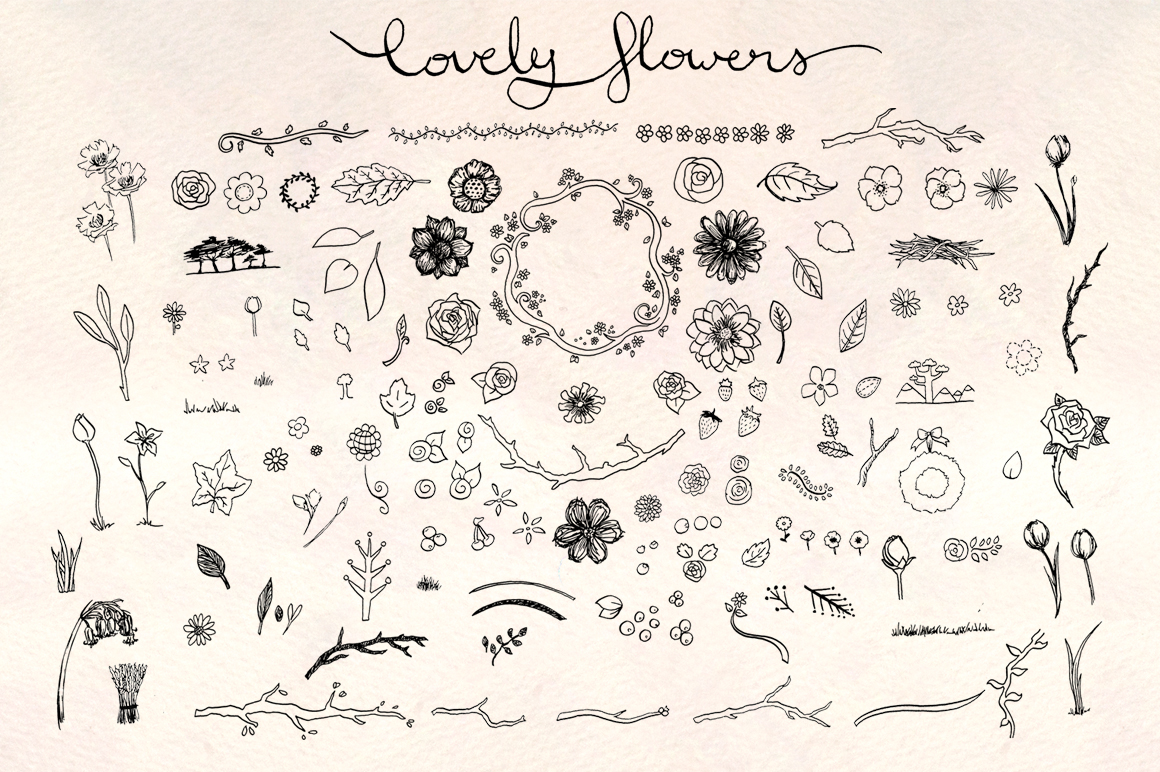 130 Lovely Spring Flowers Hand Drawn Graphics example image 2