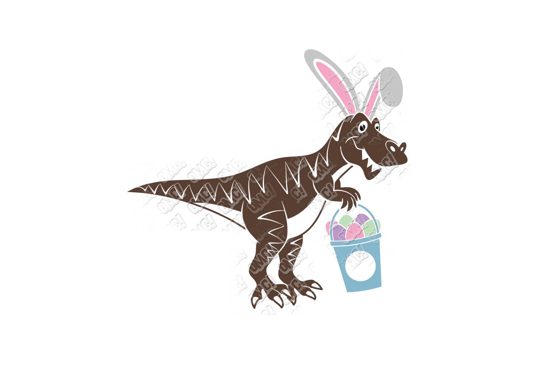 Dinosaur Easter SVG Basket in SVG, DXF, PNG, EPS, JPEG example image 2