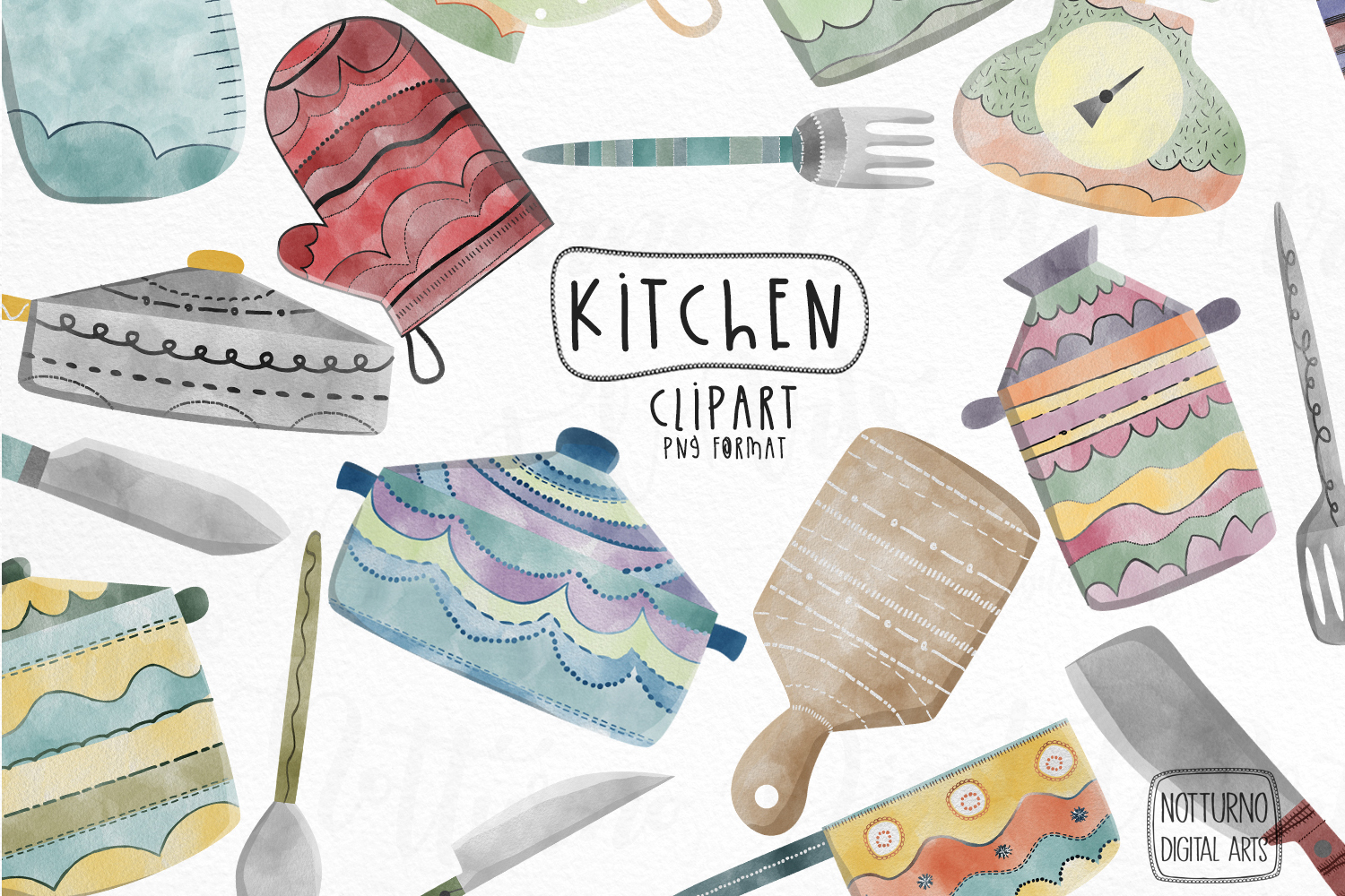 Watercolor Kitchen clipart. Kitchen utensil example image 1