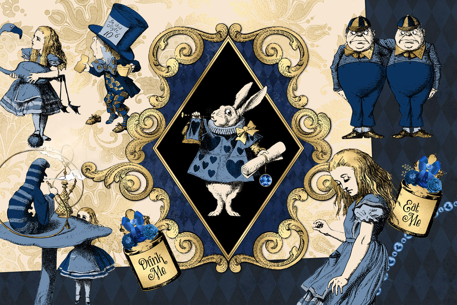 Navy Blue and Gold Alice in Wonderland Graphics example image 2