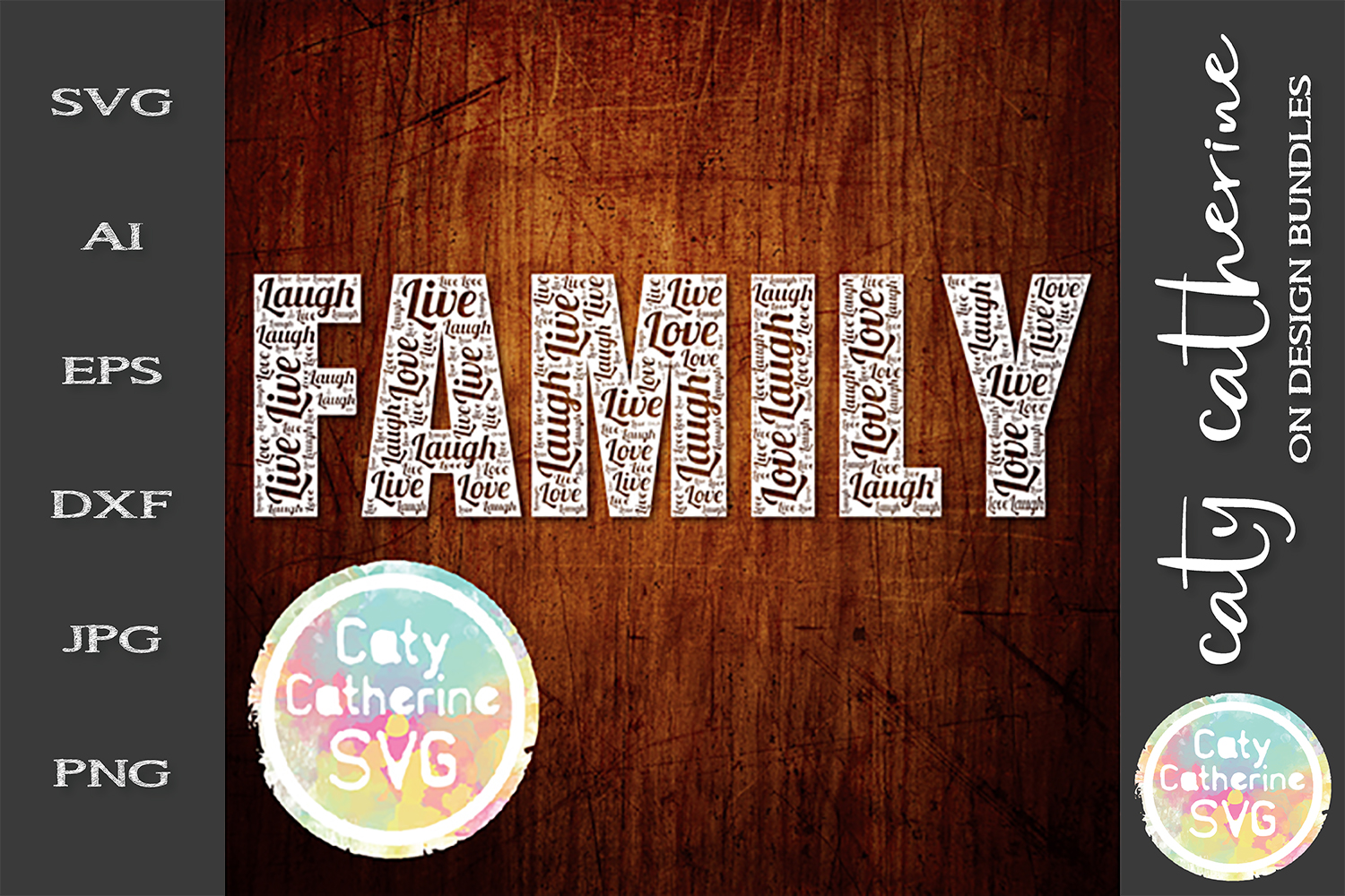 Family Live Laugh Love Word Collage SVG Cut File example image 1