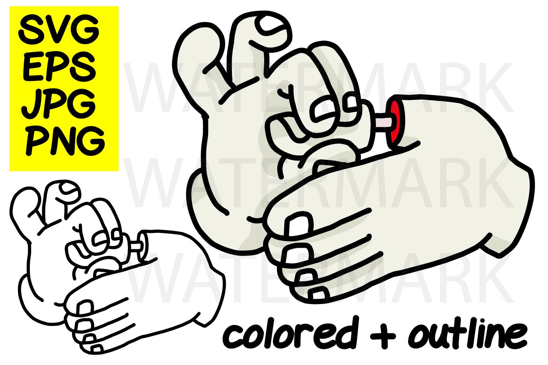Finger Breaking Trick - color and outline- SVG-EPS-JPG-PNG example image 1