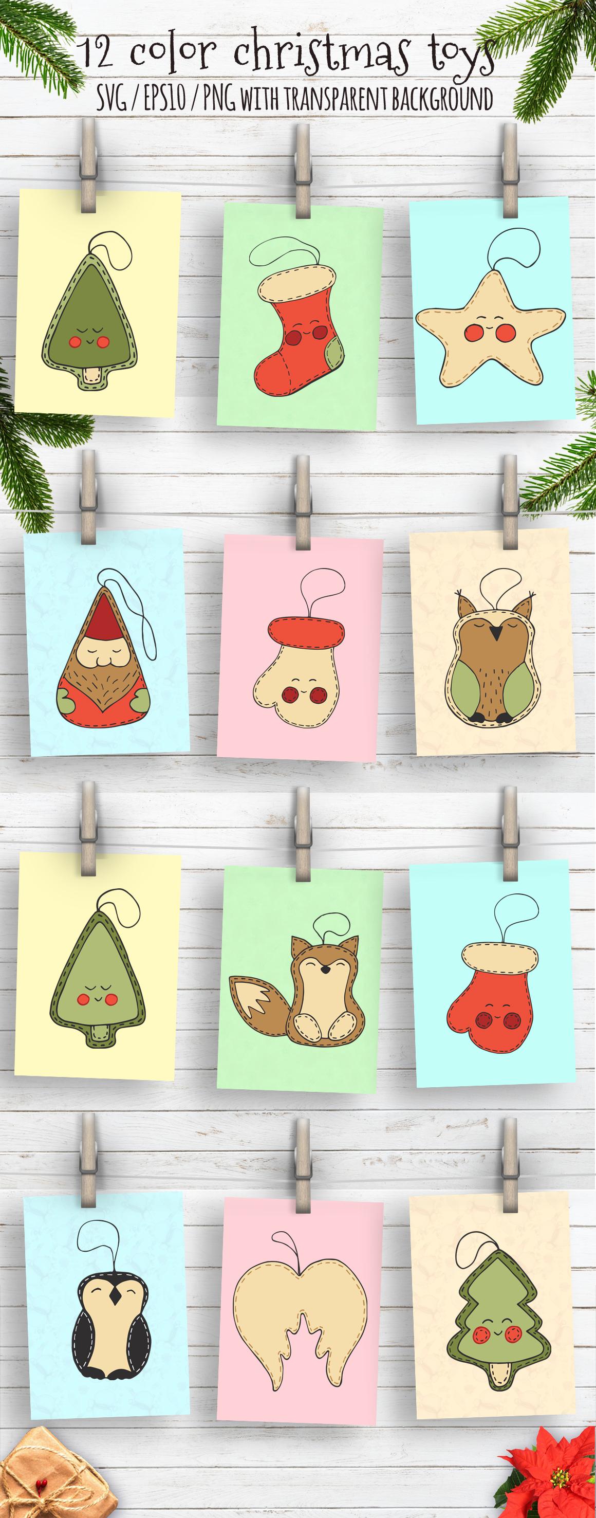 Christmas toys Hand drawn decorative Set example image 5