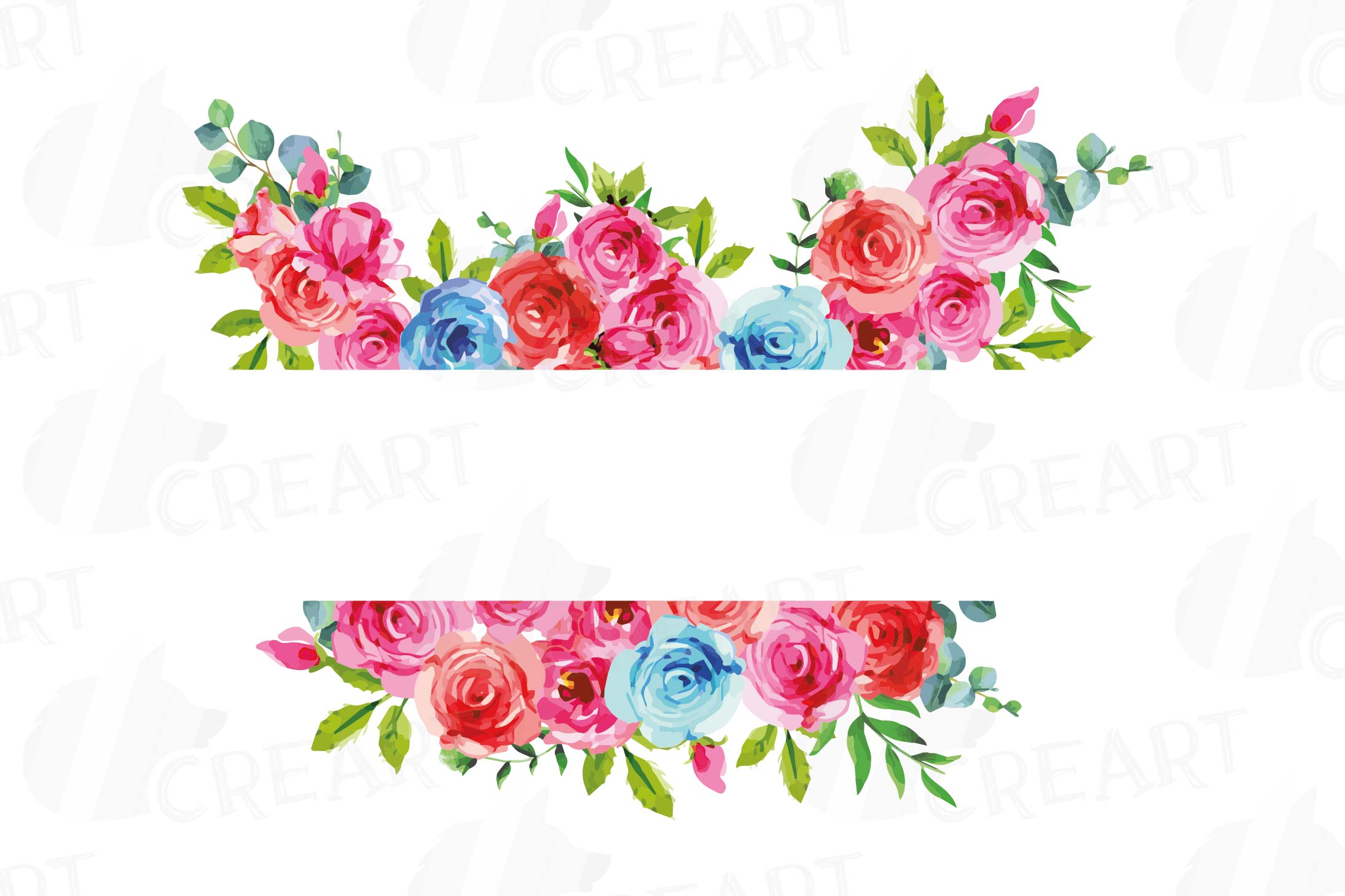 Boho pink and blue floral frames watercolor clip art pack example image 12