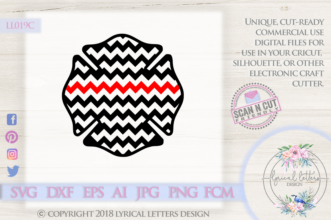 Chevron Fireman Cross with Thin Red Line SVG DXF LL019C example image 1