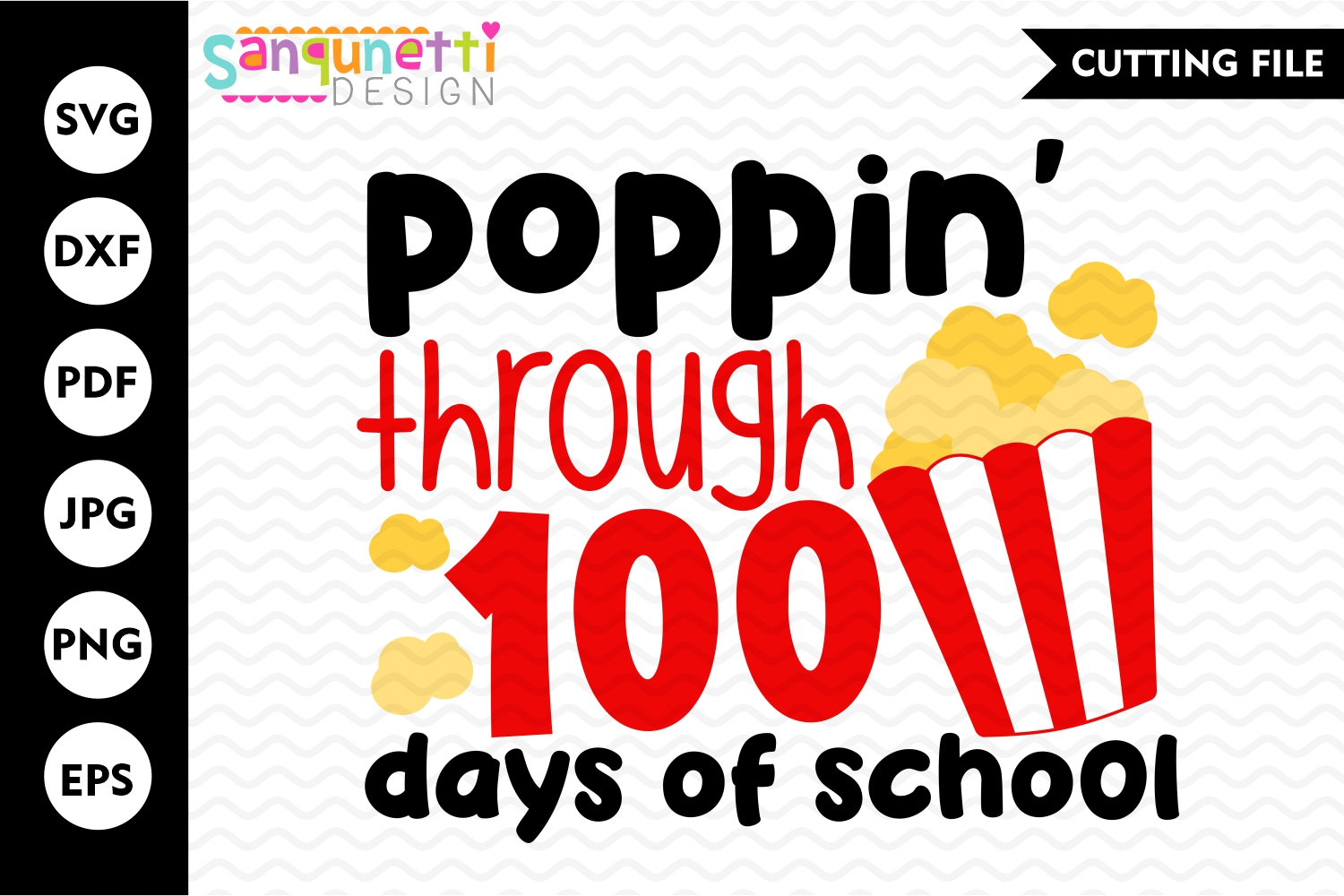 Poppin through 100 days svg, school cutting file example image 1