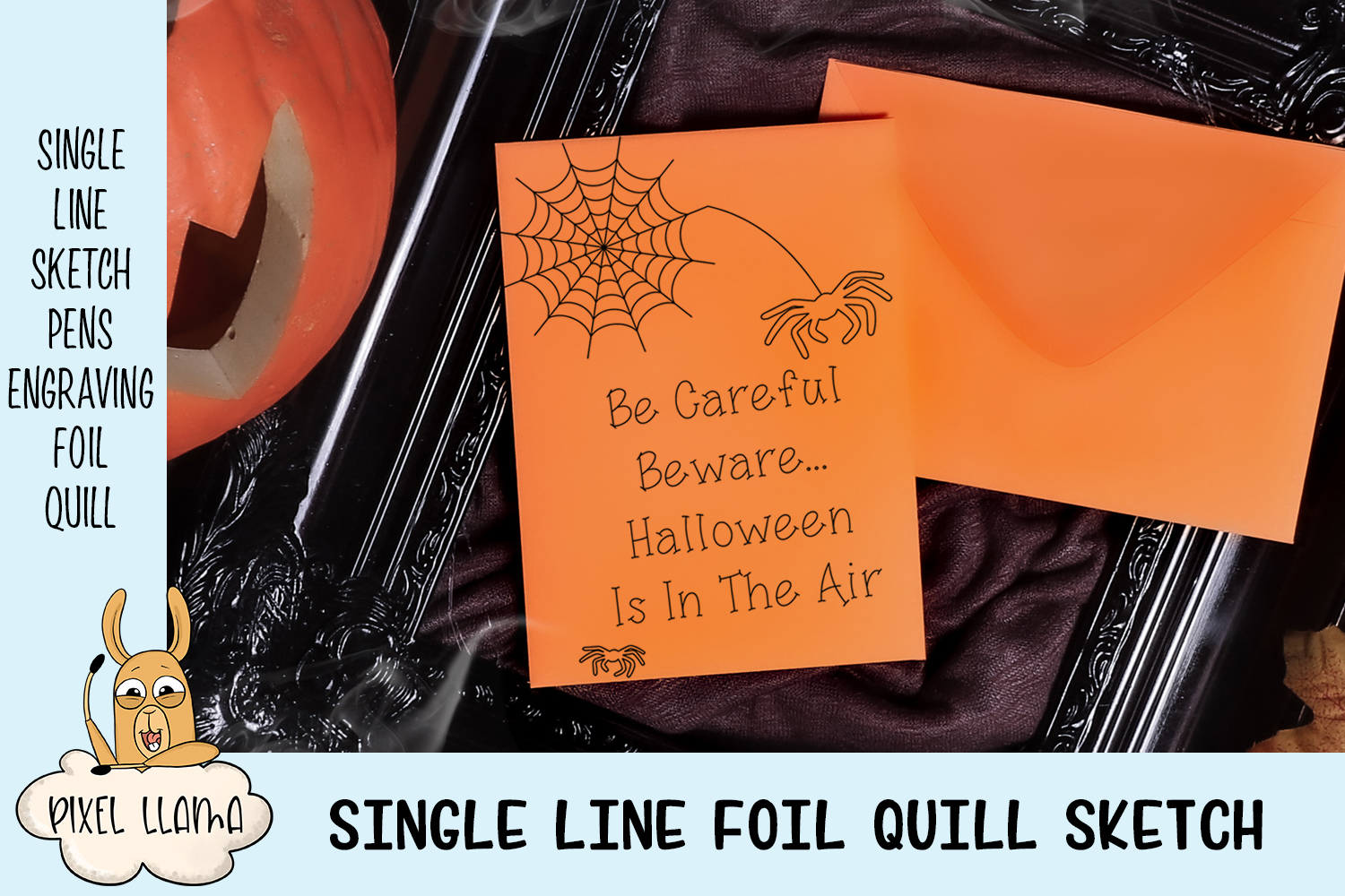 Be Careful Beware Halloween Single Line Sketch Foil Quill example image 2