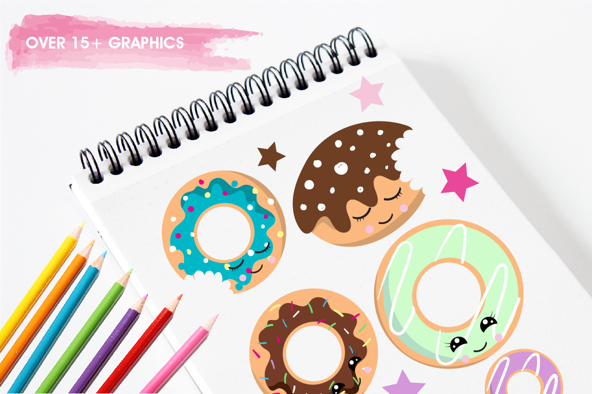 Cutie Donuts graphics and illustrations example image 3