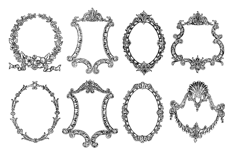 Vintage Ornate Frames Clipart Bundle PNG, EPS, SVG Vector example image 2