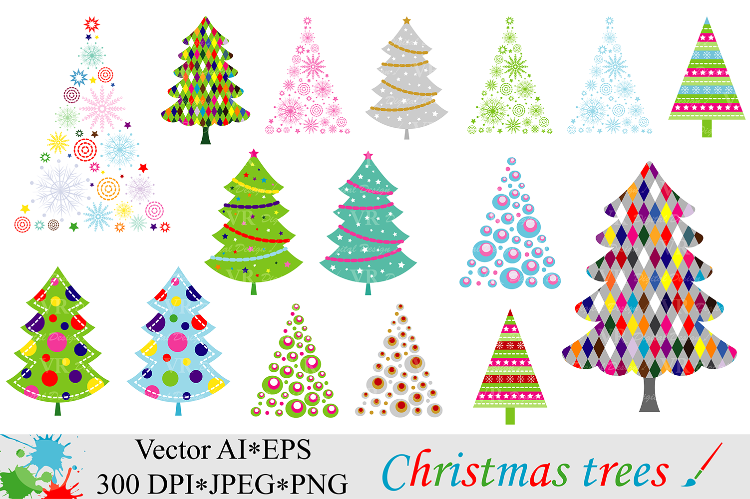 Christmas Trees Clipart - Vector example image 1