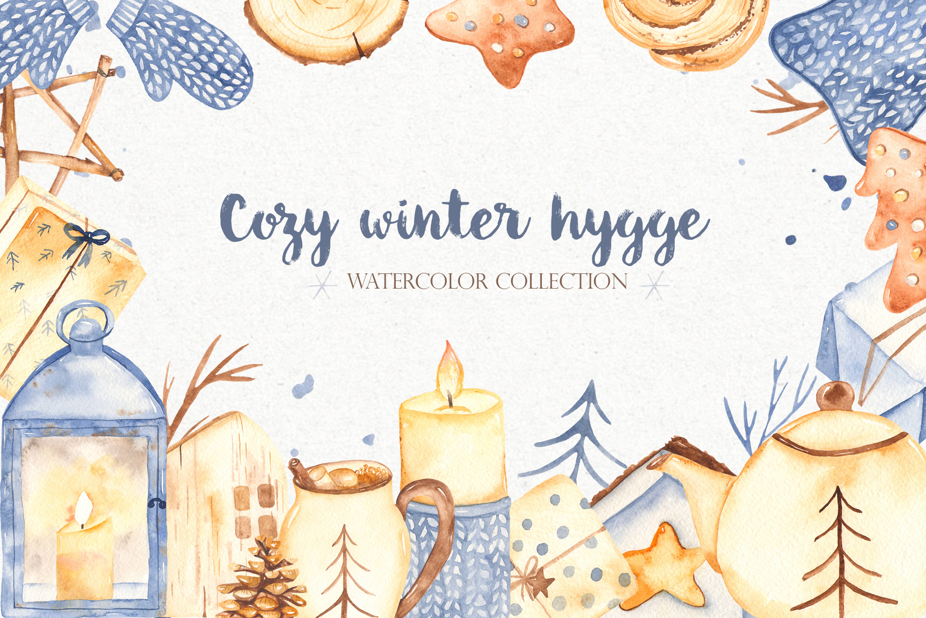 Hygge watercolor clipart Christmas cozy winter collection example image 1
