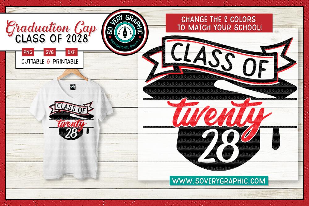 Class of 2028 Graduation Cap SVG Cut File example image 1