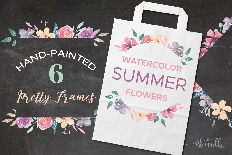 Watercolor 6 Frames Set Flowers Borders Spring Summer example image 1