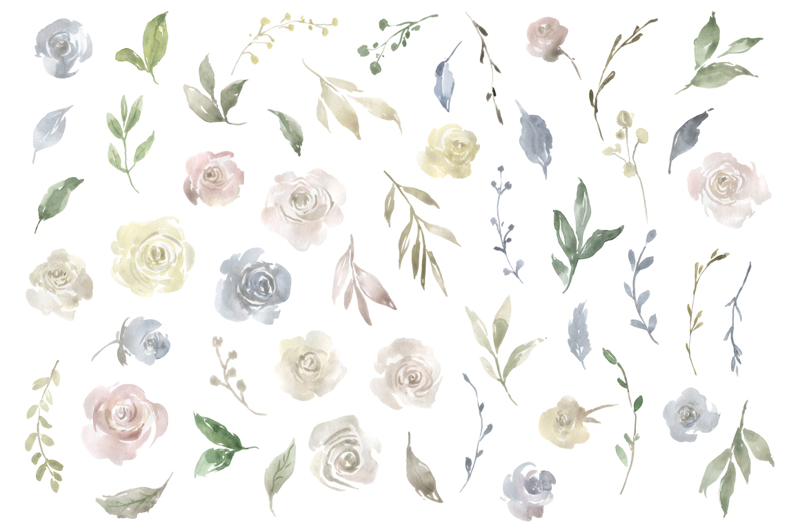 Watercolor Flowers, Bouquets, Frames Light PNG Clipart example image 2