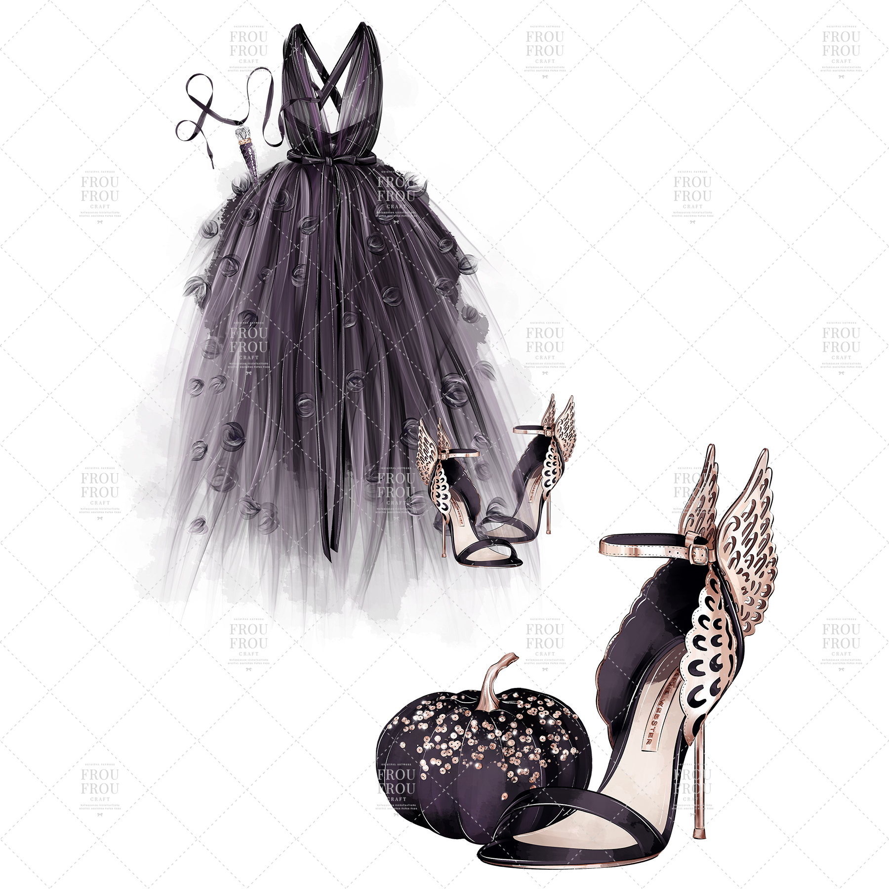 Halloween Fashion Black Dress Gold Jewelry Clip Art example image 3