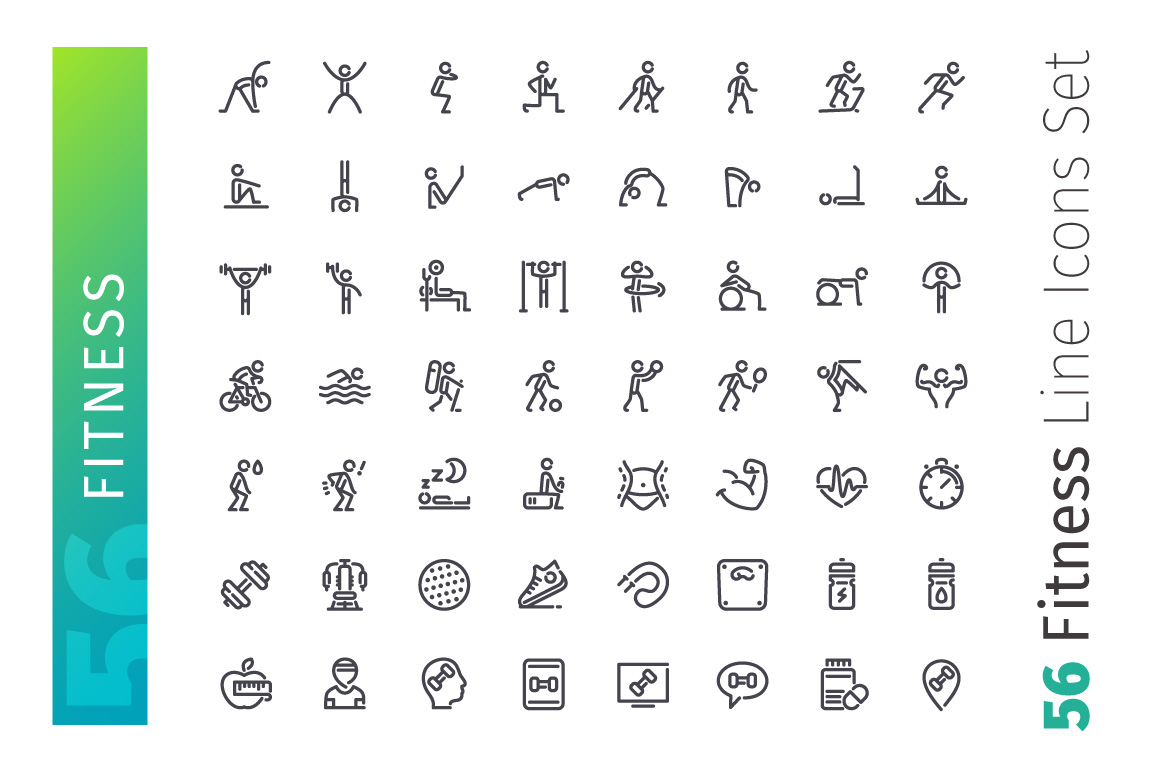 Fitness Line Icons Set example image 2