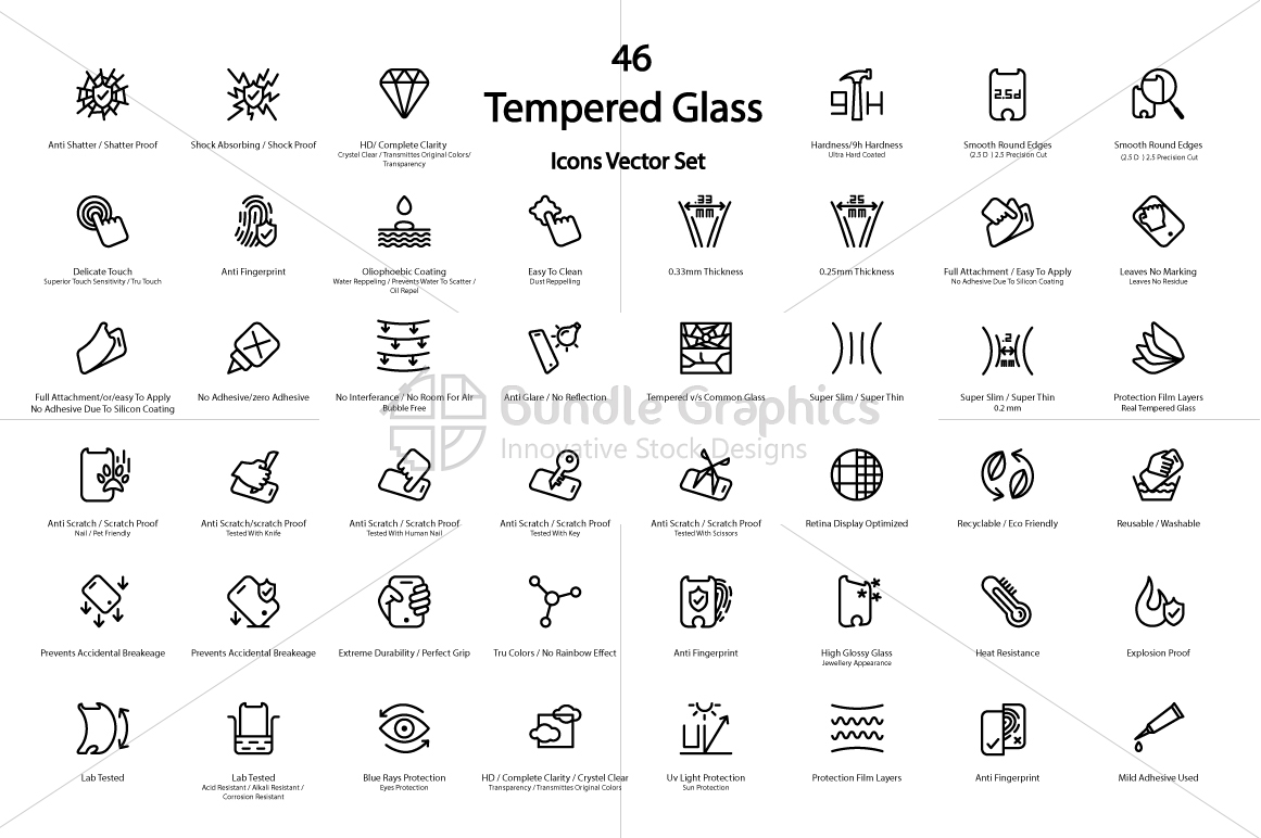 Mobile Tempered Glass Features Icons Set example image 2