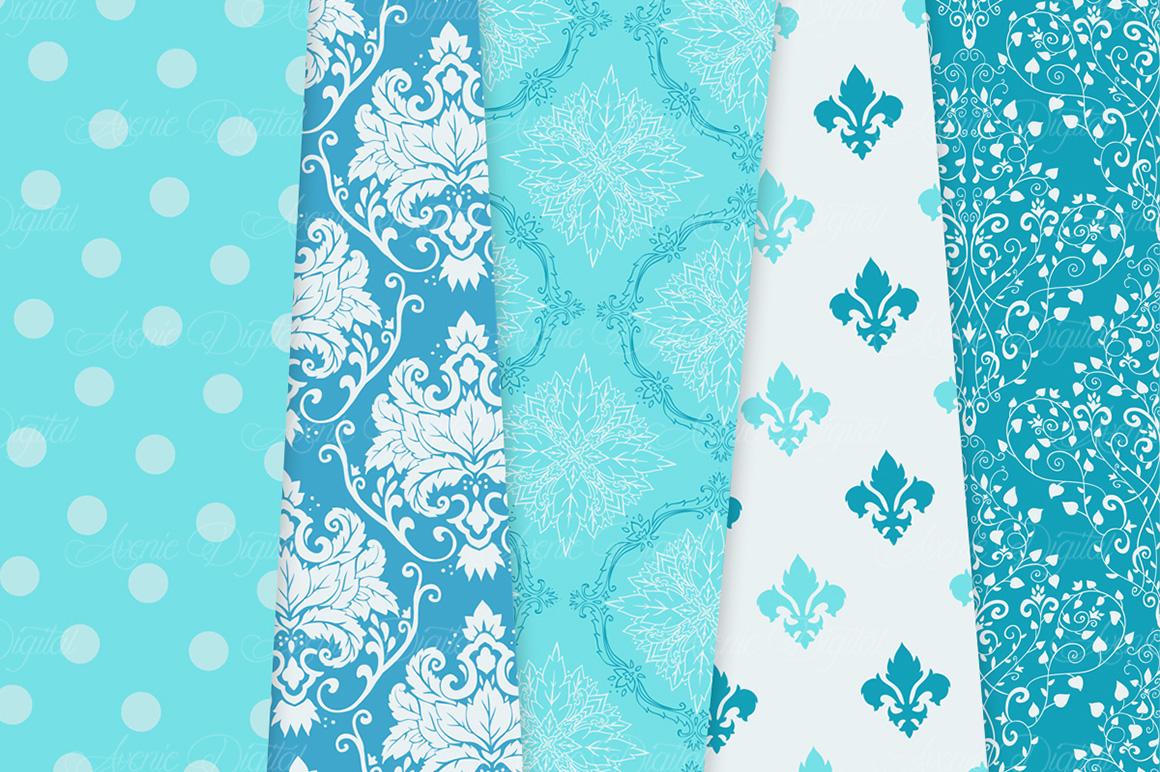 28 Soft Blue Damask Patterns - Seamless Digital Papers Bundle example image 4