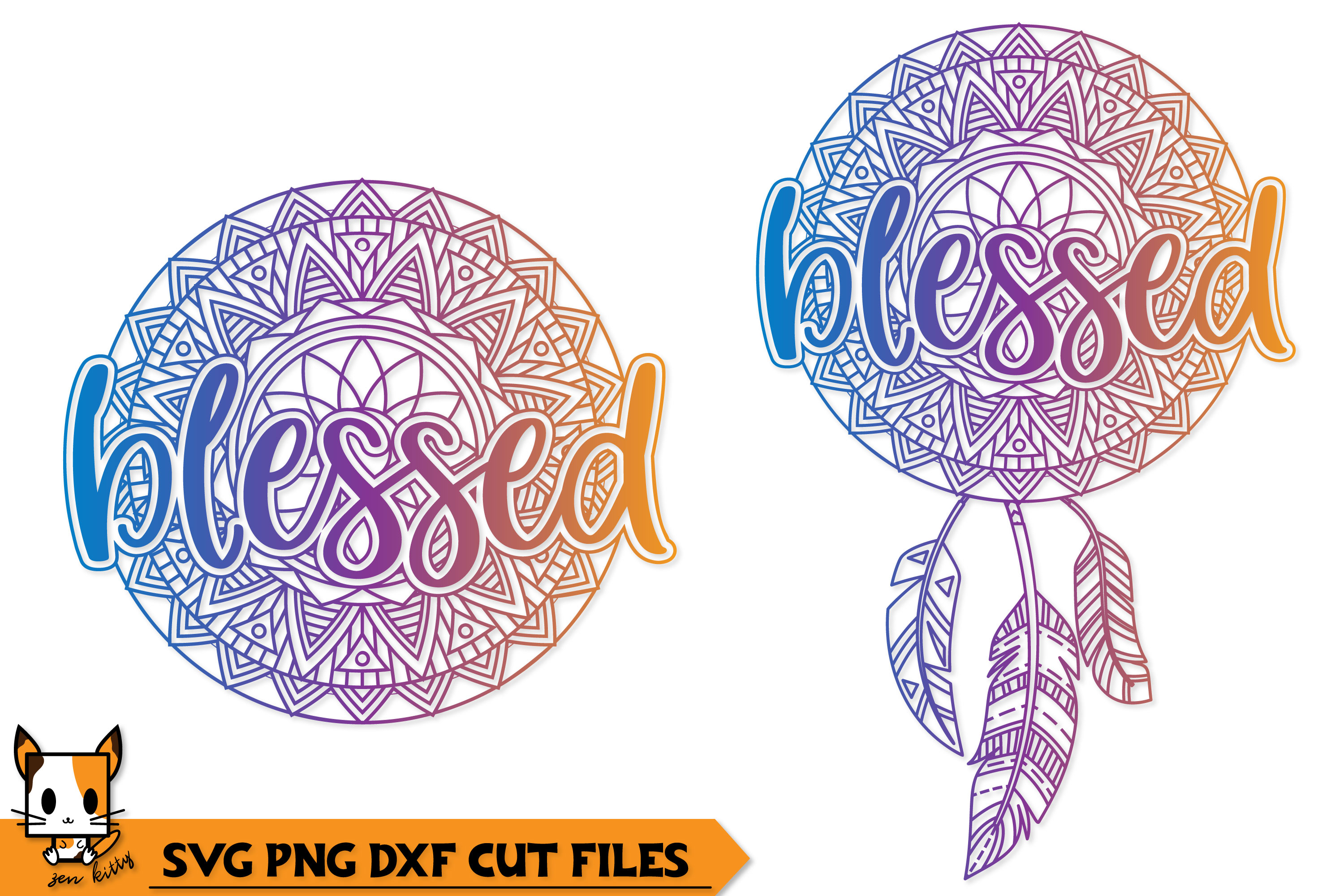 Blessed Boho Dream Catcher - Mandala SVG PNG DXF Cut Files example image 1