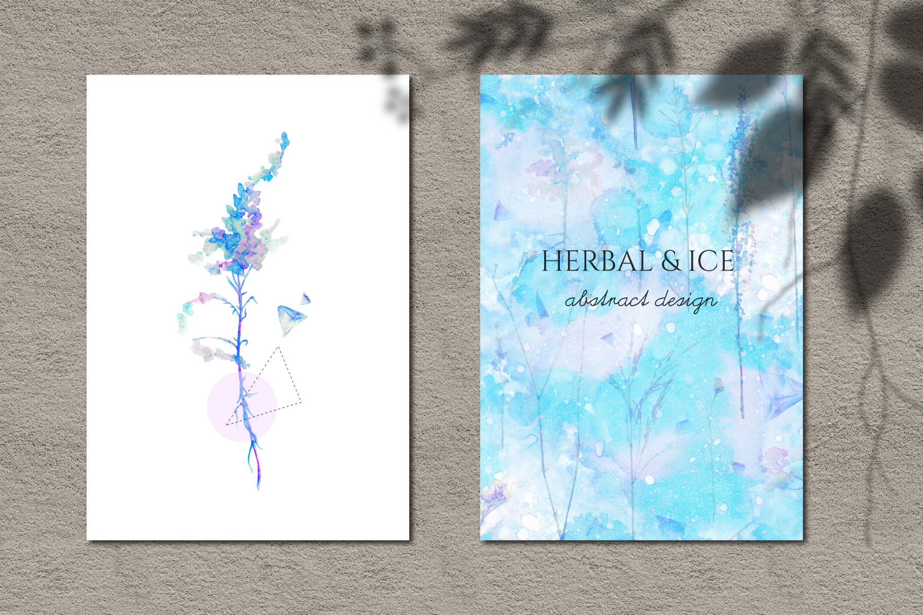 Watercolor floral design collection, herbal and ice example image 11