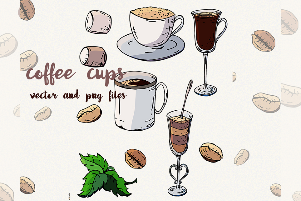 Coffee clipart Coffee cup Sweets clipart Vector coffee example image 2