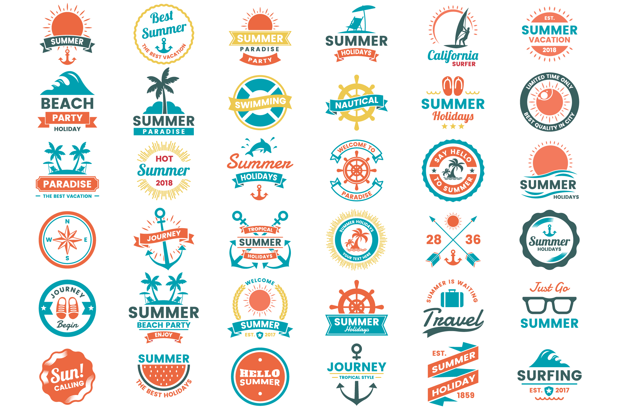 Summer Badge & Objects Vector Set example image 1
