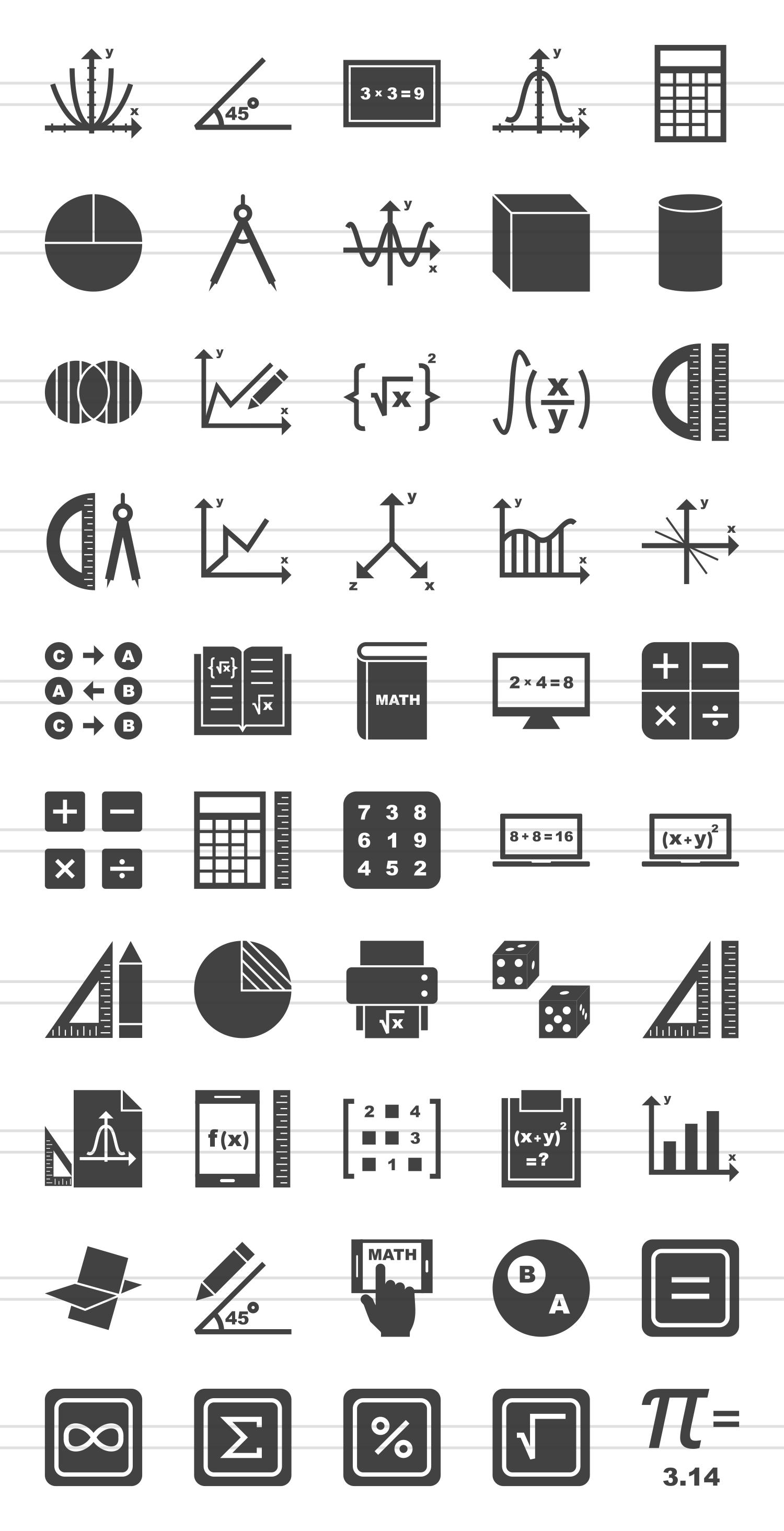 50 Math Symbols Glyph Icons example image 2