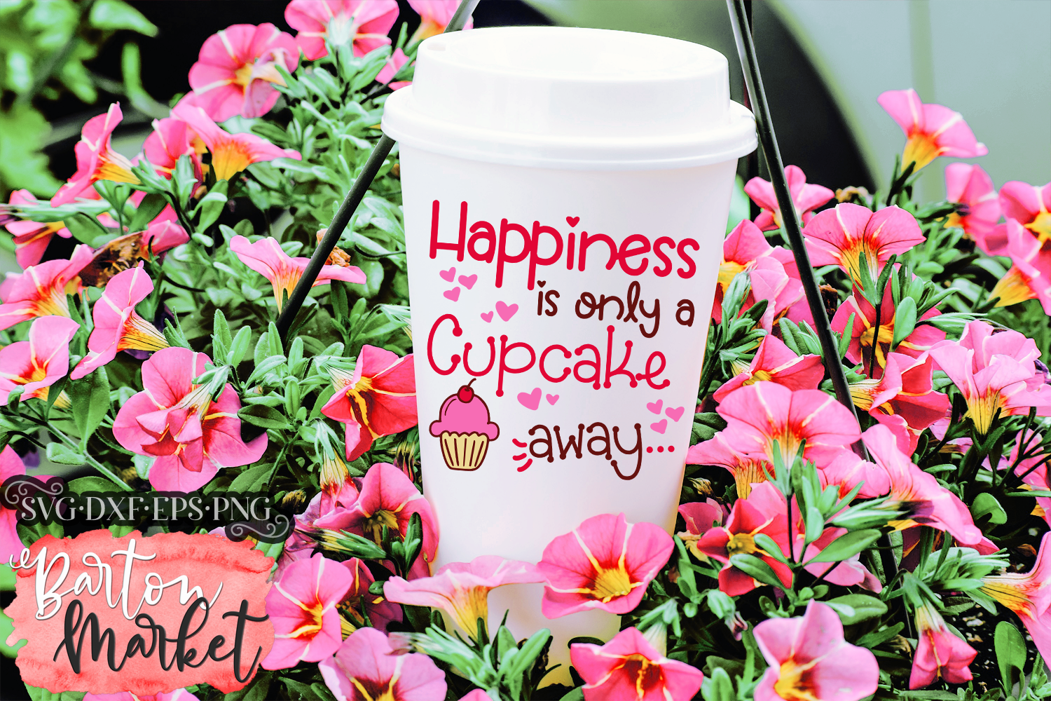 Happiness Is Only A Cupcake Away SVG DXF EPS PNG example image 4