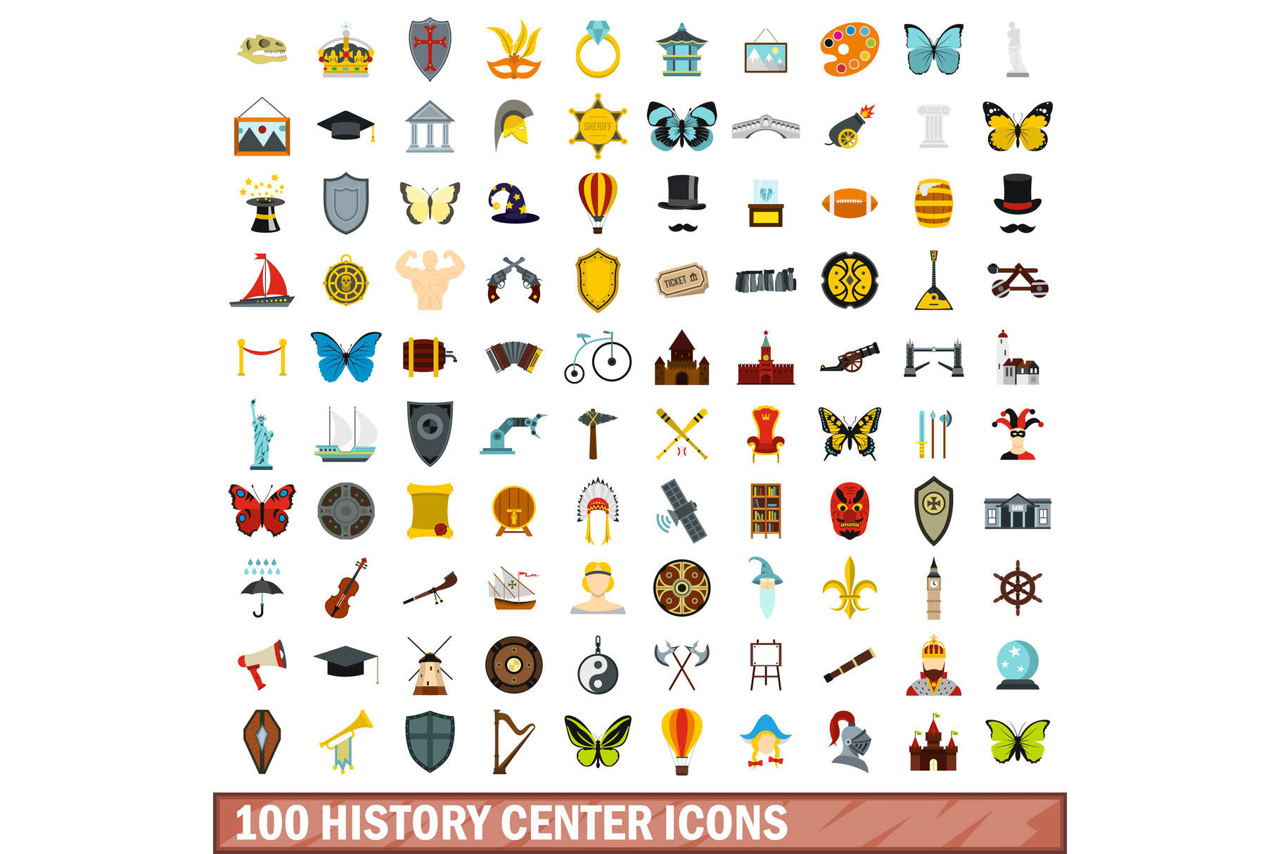 100 history center icons set, flat style example image 1