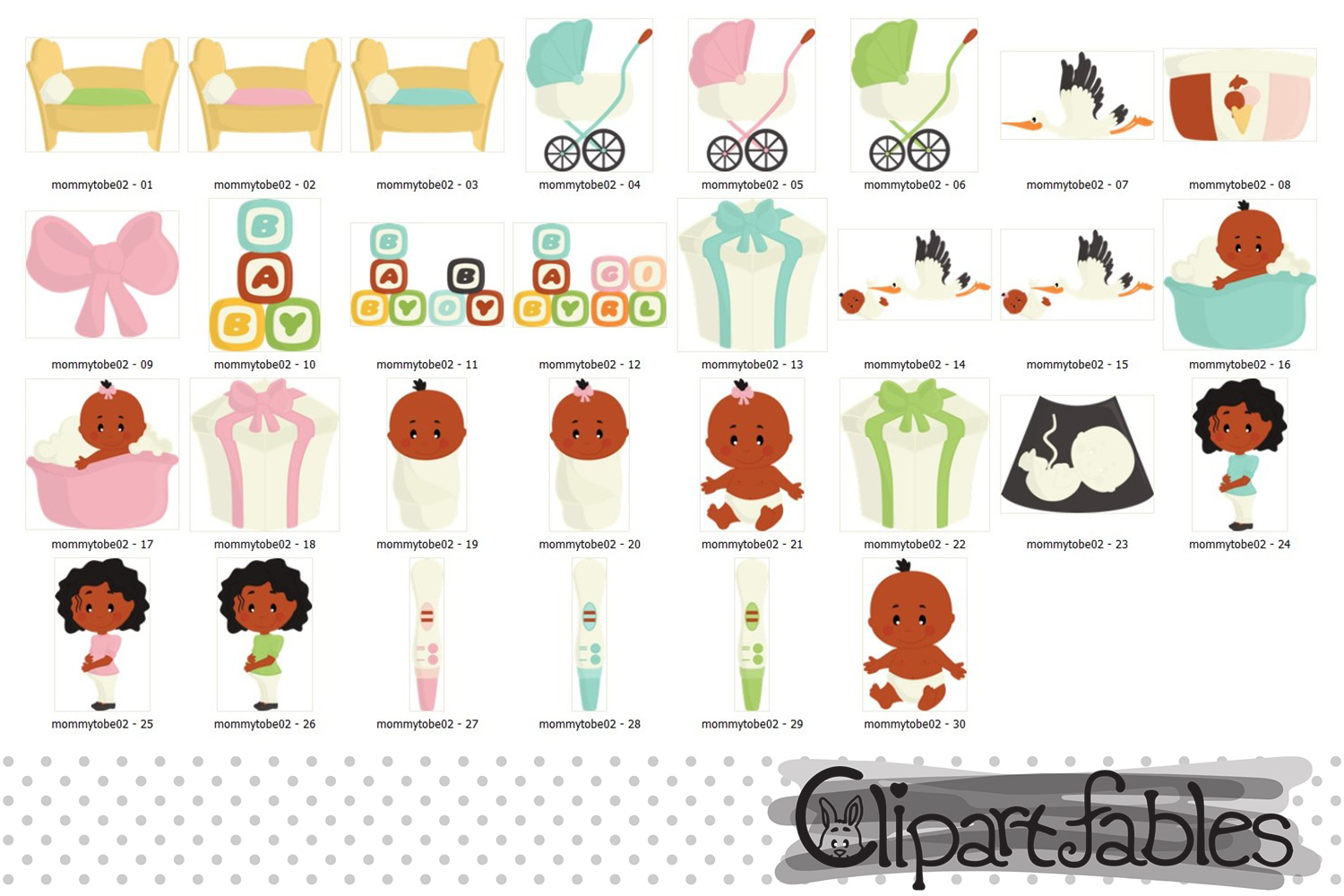 Cute Mommy to be art, African American Pregnancy Clipart example image 2