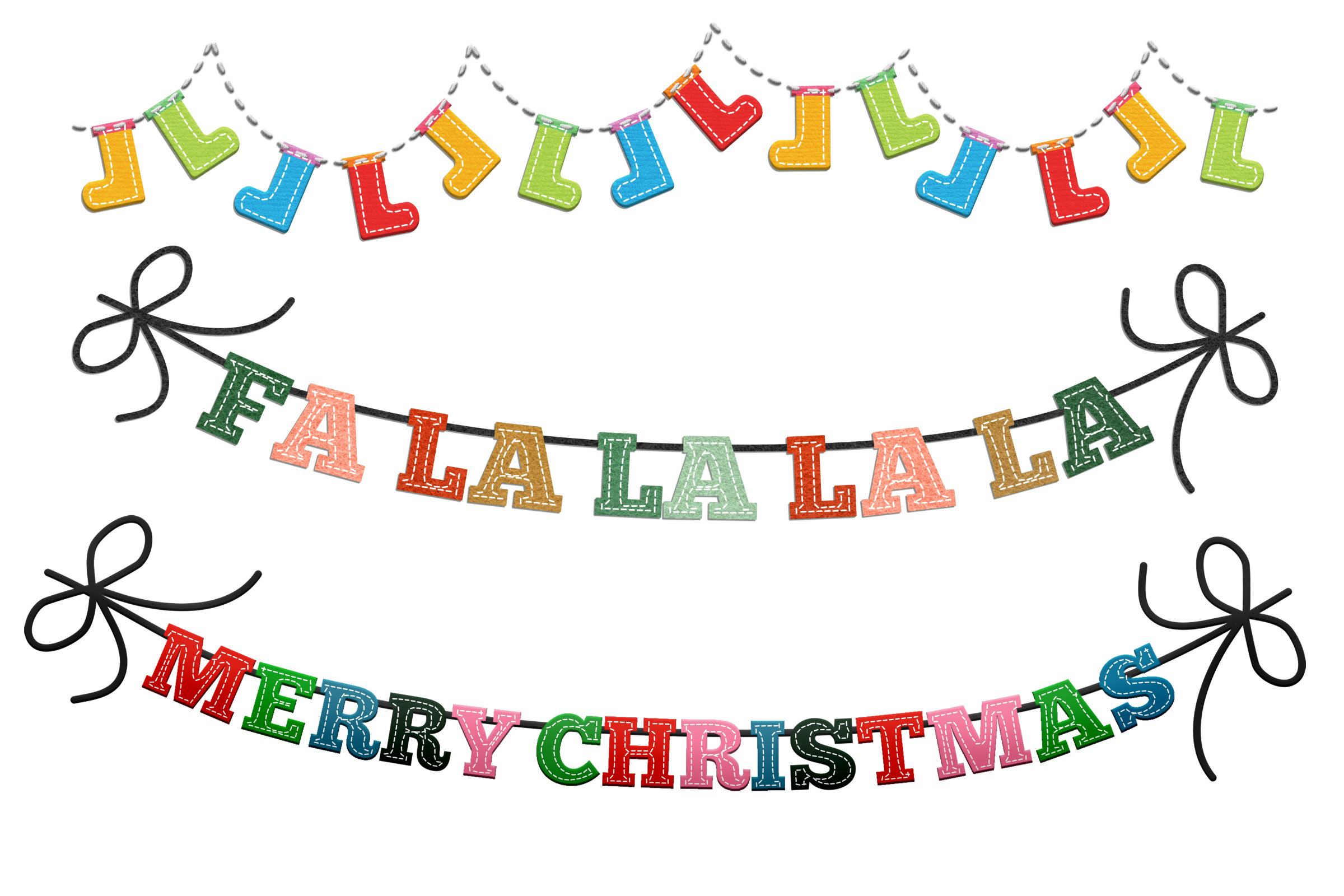 Christmas Felted Elements Clip Art example image 5