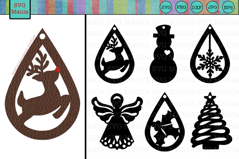 Christmas Earring SVG Bundle, Christmas Earring Template SVG example image 1