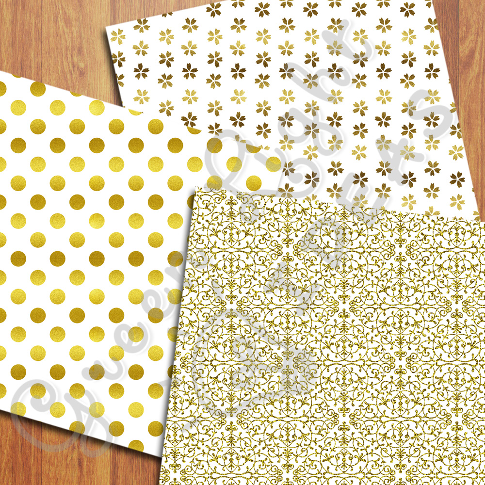 Gold And White Digital Papers example image 5